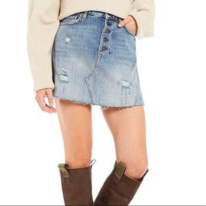 Free People Denim A-Line Distressed Skirt 27 NWT